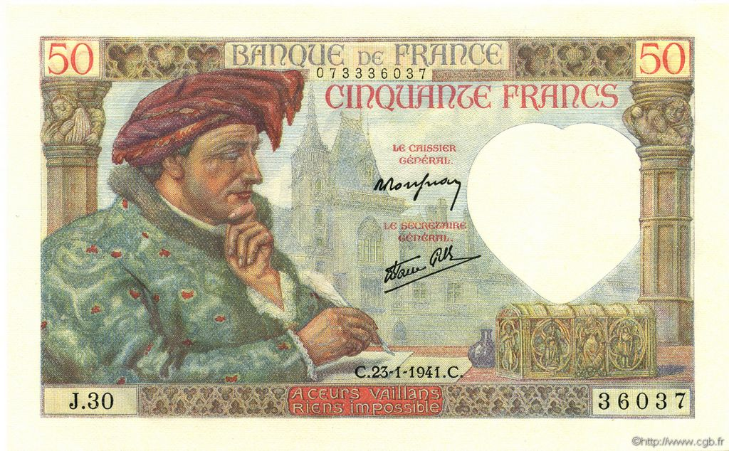50 Francs JACQUES CŒUR FRANCE  1941 F.19.05 NEUF