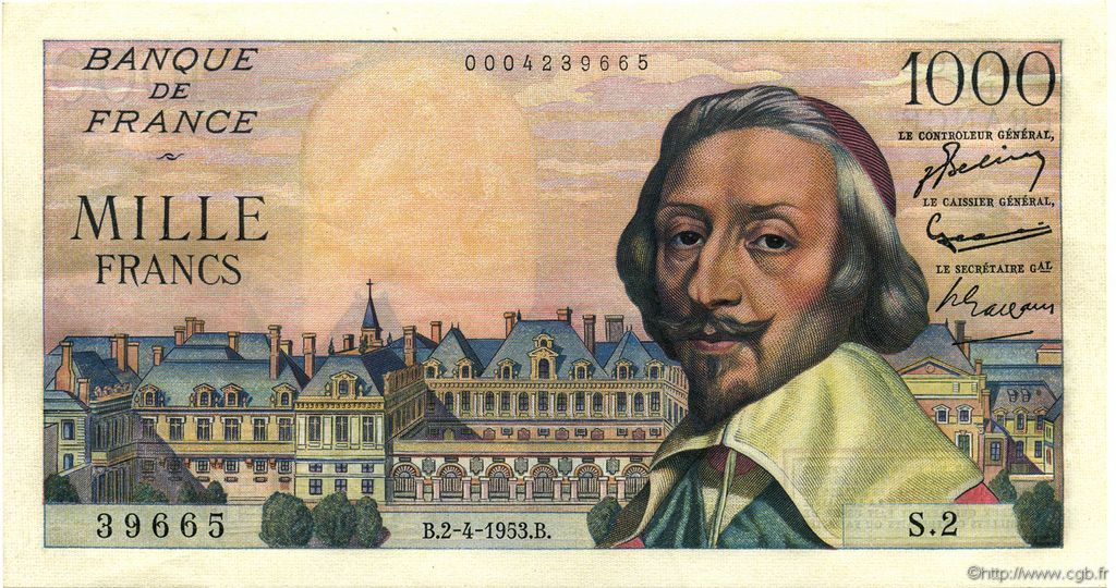 1000 Francs RICHELIEU FRANCE  1953 F.42.01 SPL+