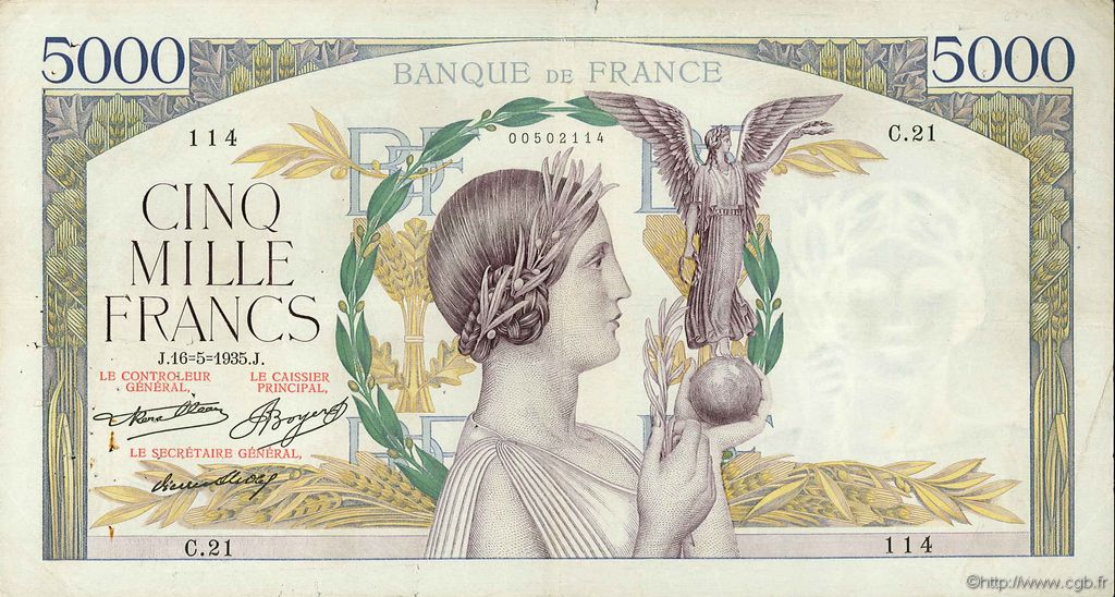 5000 Francs VICTOIRE FRANCE  1935 F.44.02 TB