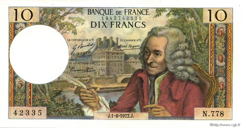 10 Francs VOLTAIRE FRANCE  1972 F.62.56 SUP+