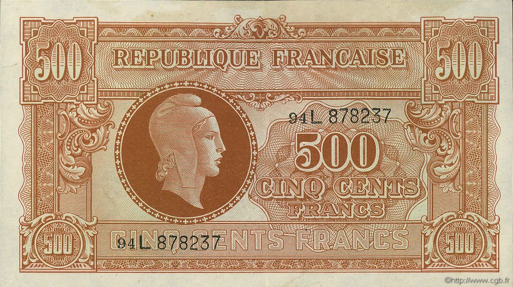 500 Francs MARIANNE FRANCE  1945 VF.11.01 SUP