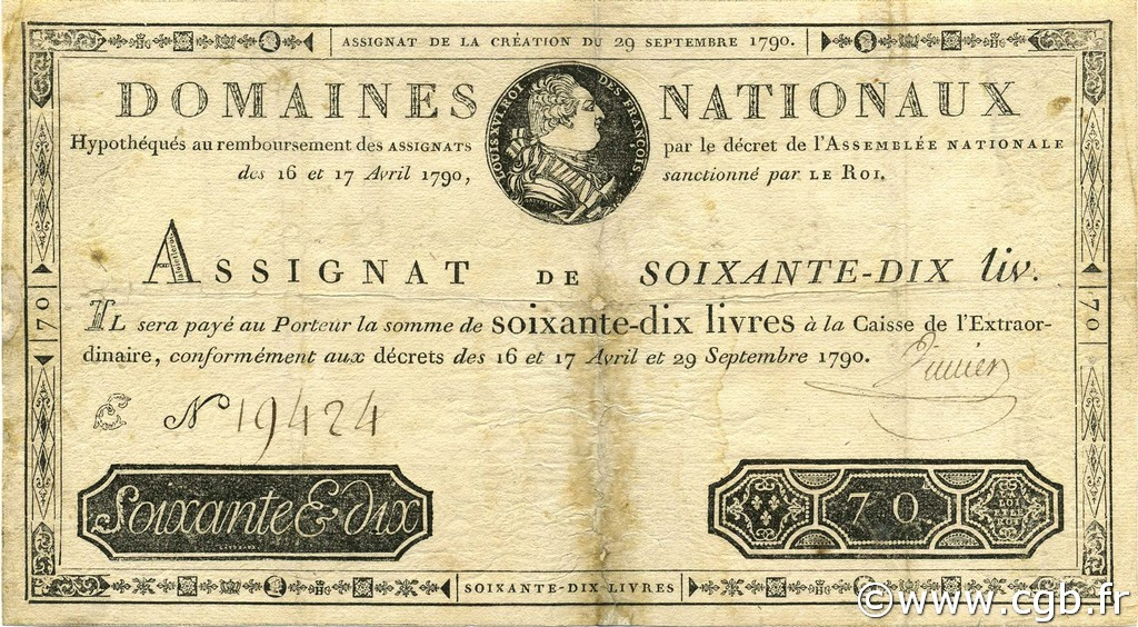 70 Livres FRANCE  1790 Ass.06a TB+