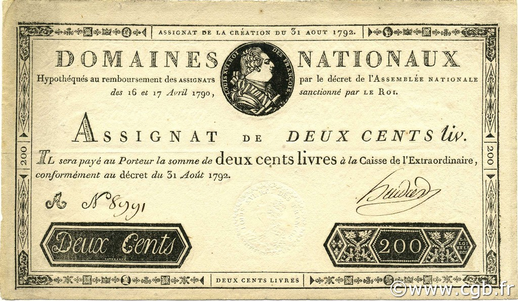 200 Livres FRANCE  1792 Ass.33a SUP+