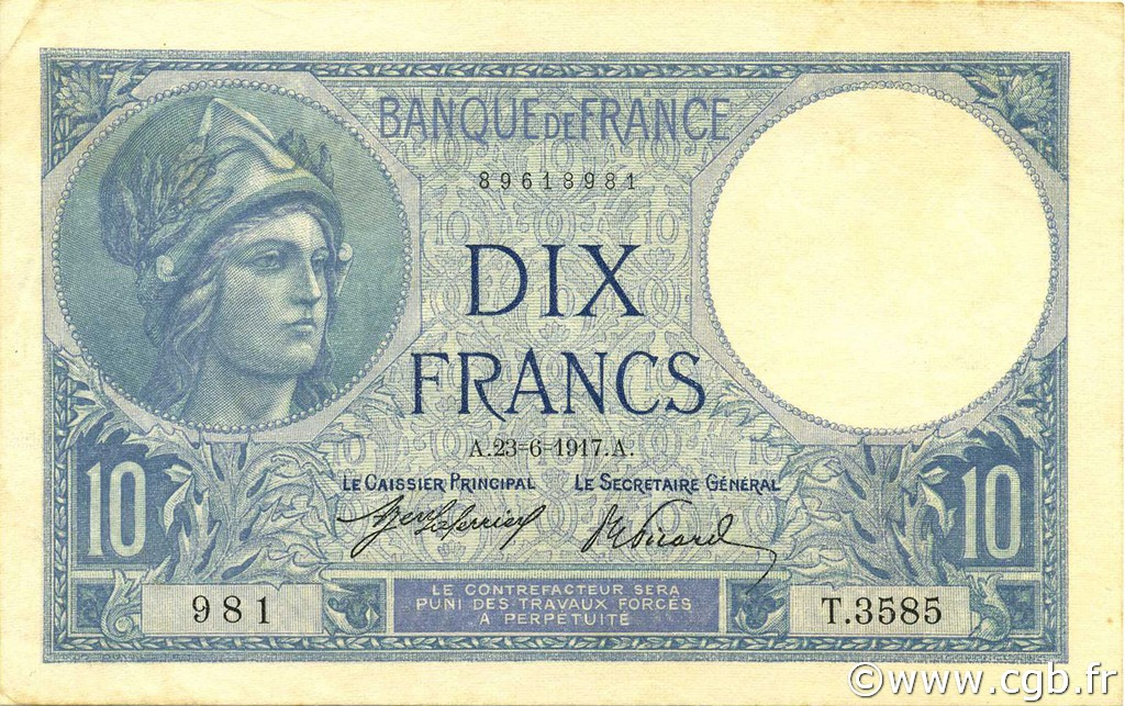 10 Francs MINERVE FRANCE  1917 F.06.02 SPL