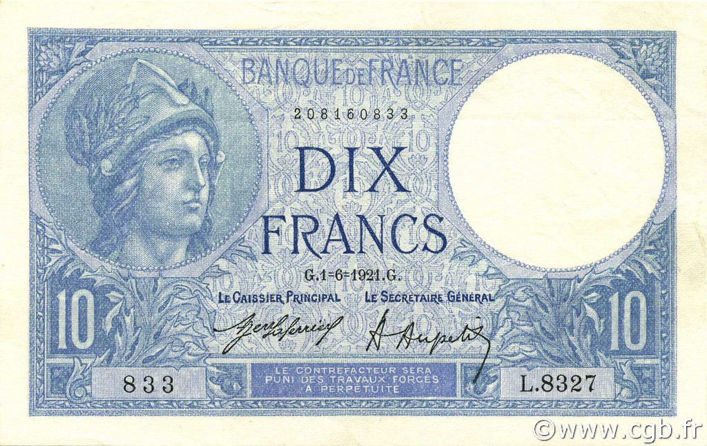 10 Francs MINERVE FRANCE  1921 F.06.05 pr.SUP