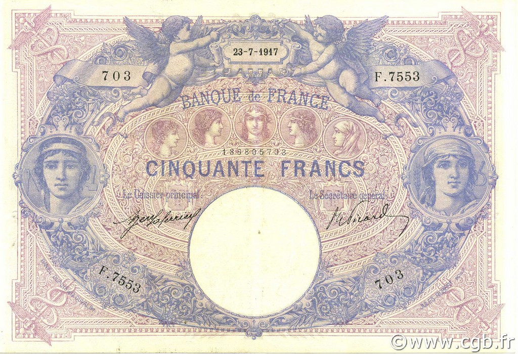 50 Francs BLEU ET ROSE FRANCE  1917 F.14.30 SUP+
