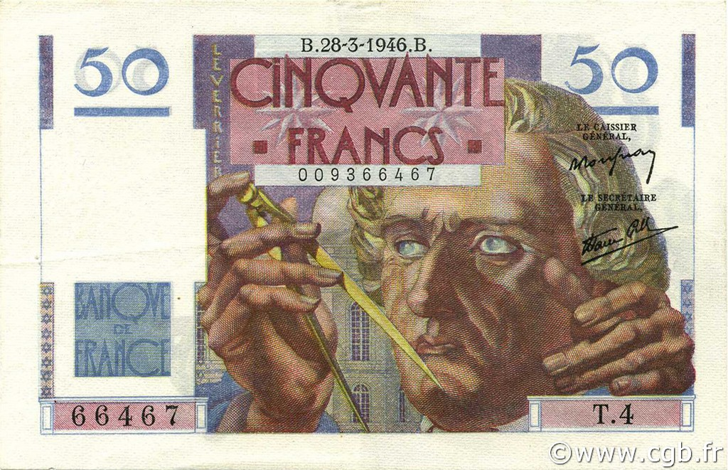 50 Francs LE VERRIER FRANCE  1946 F.20.02 TTB à SUP