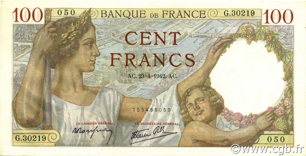 100 Francs SULLY FRANCE  1942 F.26.70 pr.NEUF