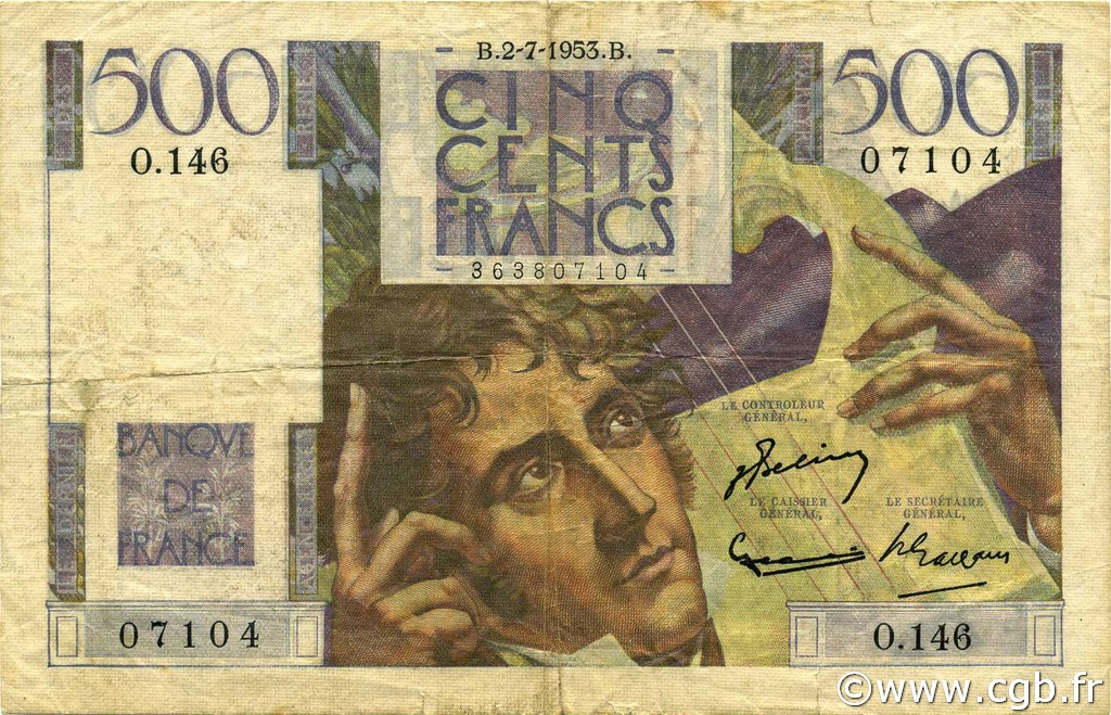 500 Francs CHATEAUBRIAND FRANCE  1953 F.34.13 TB