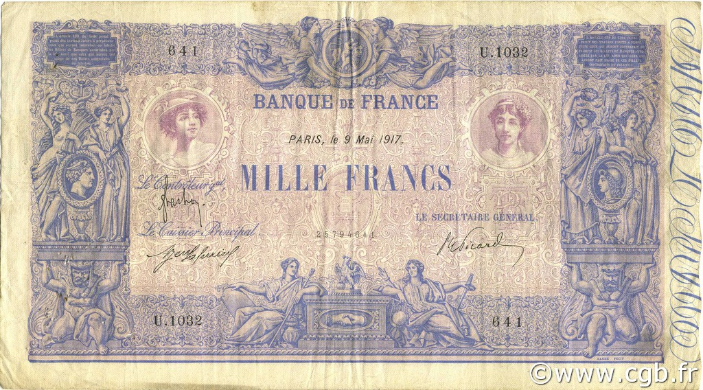 1000 Francs BLEU ET ROSE FRANCE  1917 F.36.31 TB à TTB