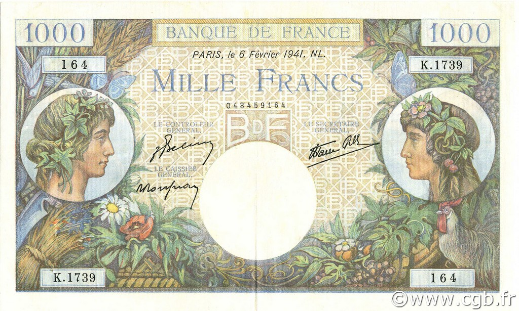 1000 Francs COMMERCE ET INDUSTRIE FRANCE  1941 F.39.04 SUP