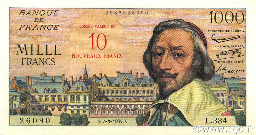 10 NF sur 1000 Francs RICHELIEU FRANCE  1957 F.53.01 SPL