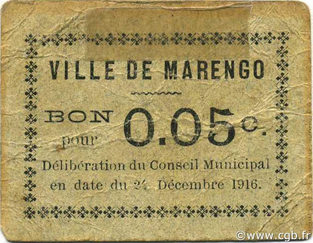 5 centimes argelia marengo 1916 p18 0635 billetes for Marengo argelia