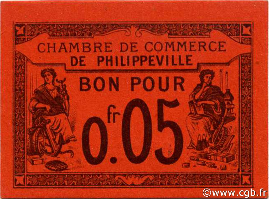 5 centimes alg rie philippeville 1915 p18 0719 billets for Chambre de commerce francaise en algerie