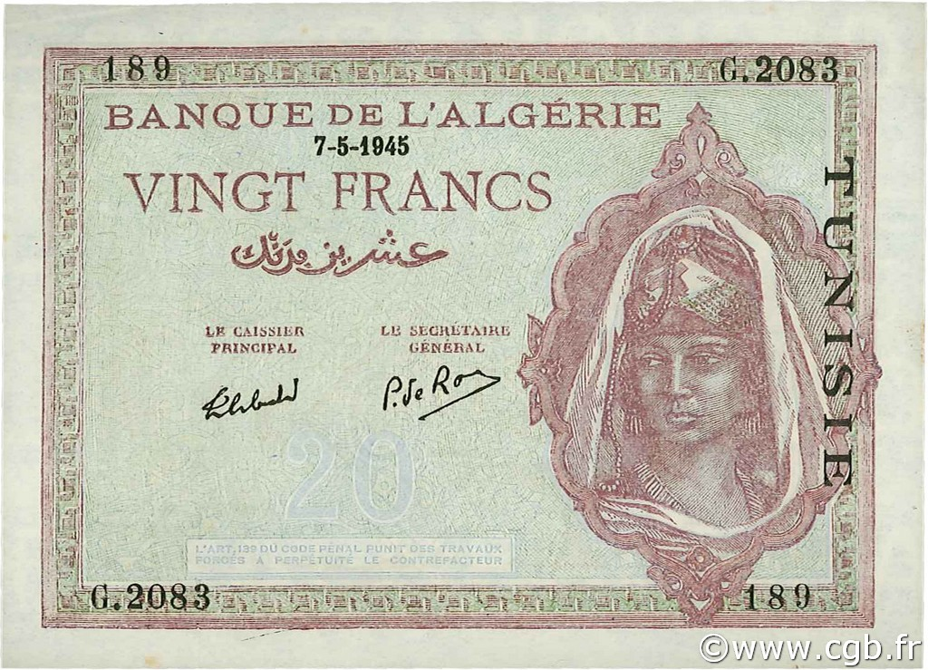 20 Francs type 1943 TUNISIE  1945 P.18 SPL