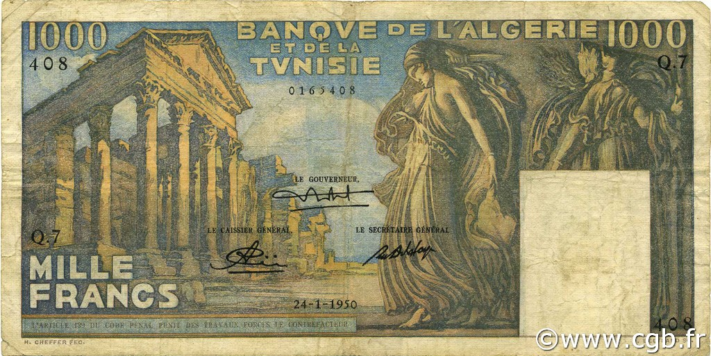 1000 Francs type 1950 temple romain TUNISIE  1950 P.29a TB+
