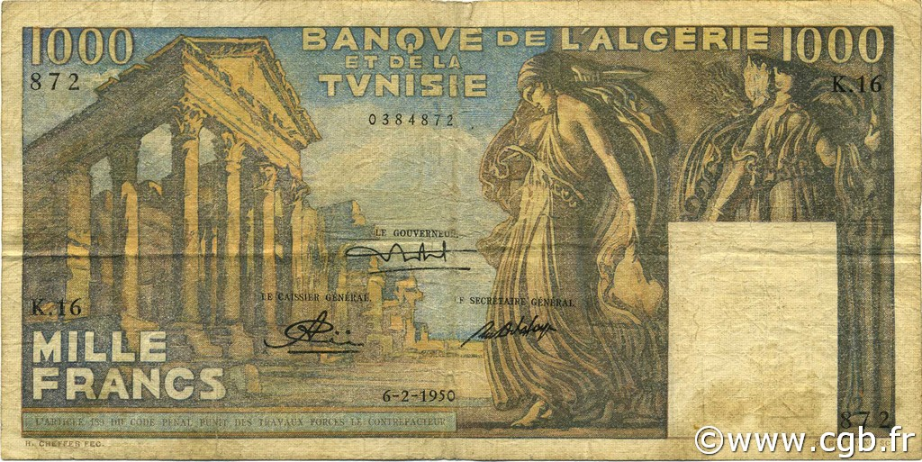 1000 Francs type 1950 temple romain TUNISIE  1950 P.29a B+