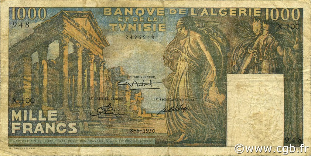 1000 Francs type 1950 temple romain TUNISIE  1950 P.29a TB