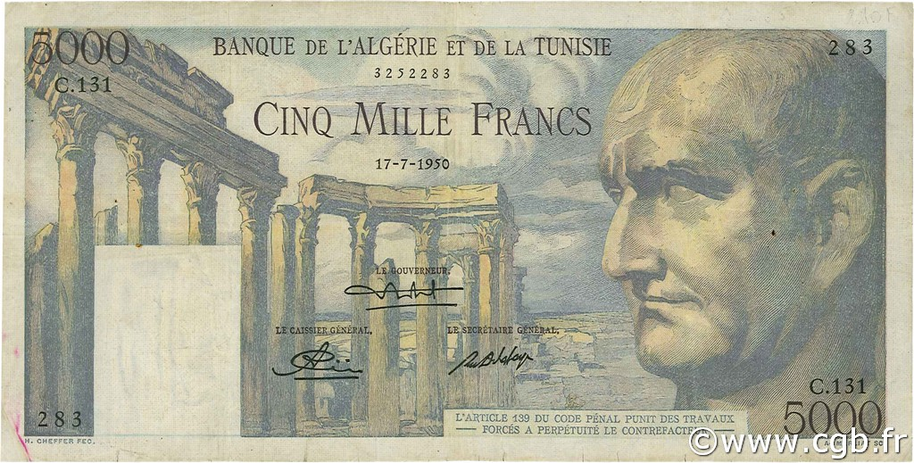 5000 Francs type 1950 Vespasien TUNISIE  1950 P.30a TB