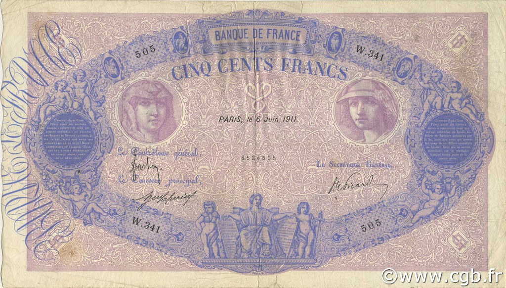 500 Francs BLEU ET ROSE FRANCE  1911 F.30.19 TB+