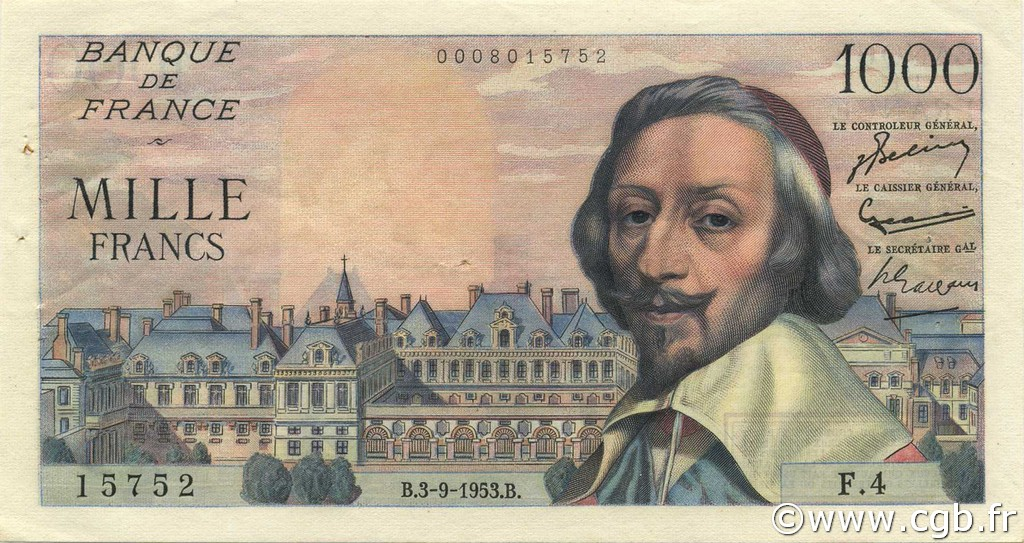 1000 Francs RICHELIEU FRANCE  1953 F.42.02 TTB+