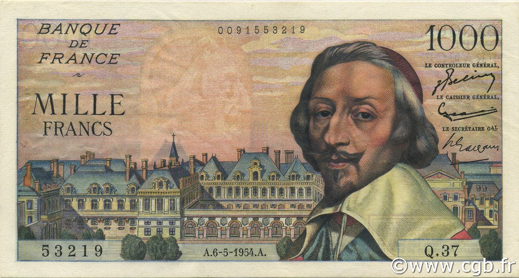 1000 Francs RICHELIEU FRANCE  1954 F.42.05 SUP+