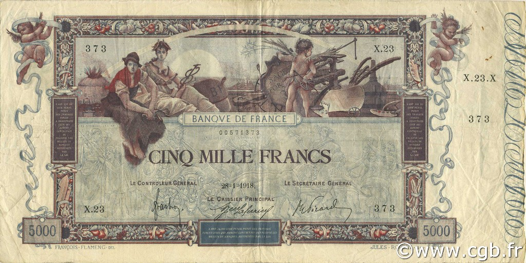 5000 Francs FLAMENG FRANCE  1918 F.43.01 pr.TTB