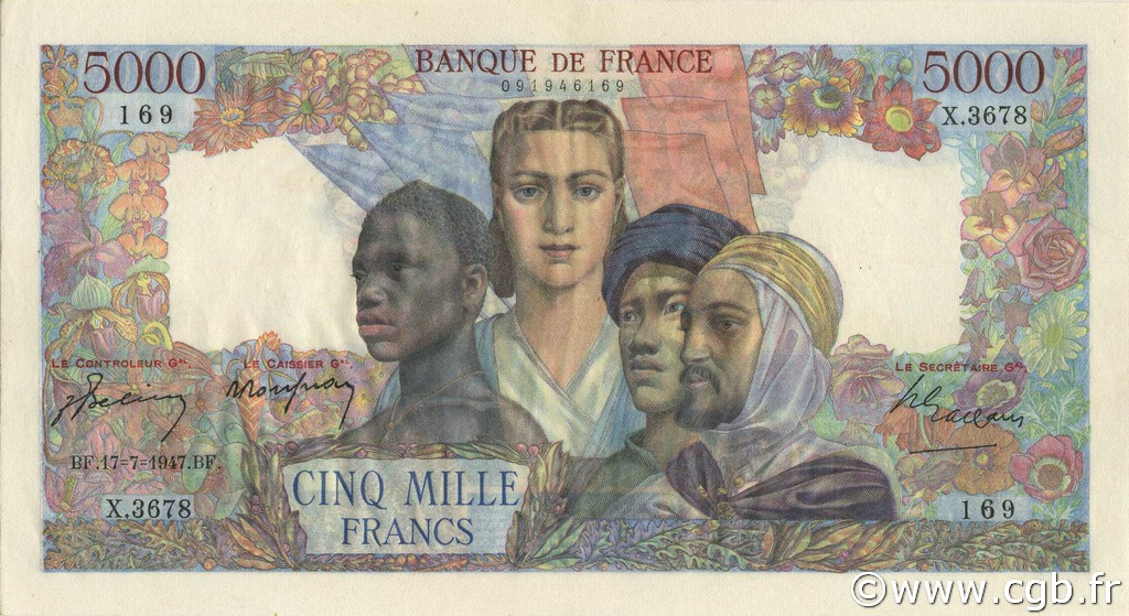 5000 Francs EMPIRE FRANÇAIS FRANCE  1947 F.47.61 SUP à SPL