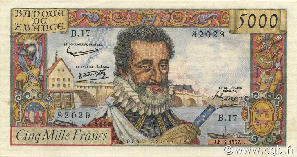 5000 Francs HENRI IV FRANCE  1957 F.49.02 SUP