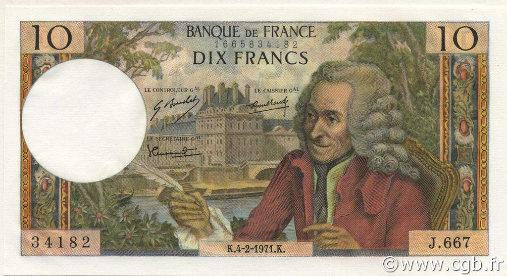 10 Francs VOLTAIRE FRANCE  1971 F.62.49 NEUF
