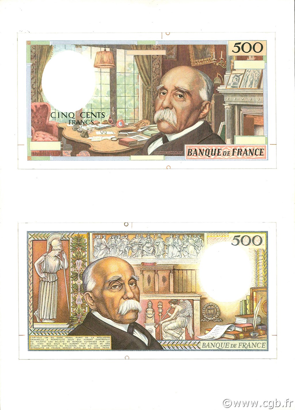 500 Francs CLEMENCEAU FRANCE  1977 F. NEUF