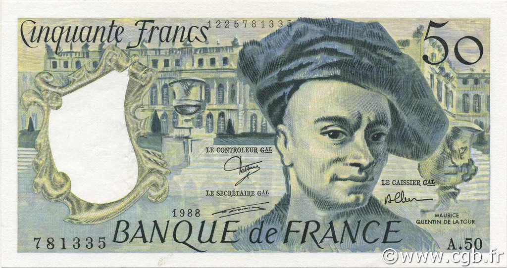 50 Francs QUENTIN DE LA TOUR FRANCE  1988 F.67.14 SUP
