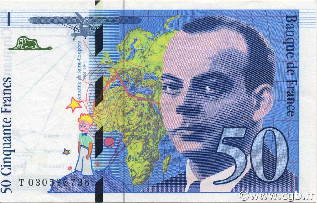 50 Francs SAINT-EXUPÉRY modifié FRANCE  1997 F.73.04 SPL