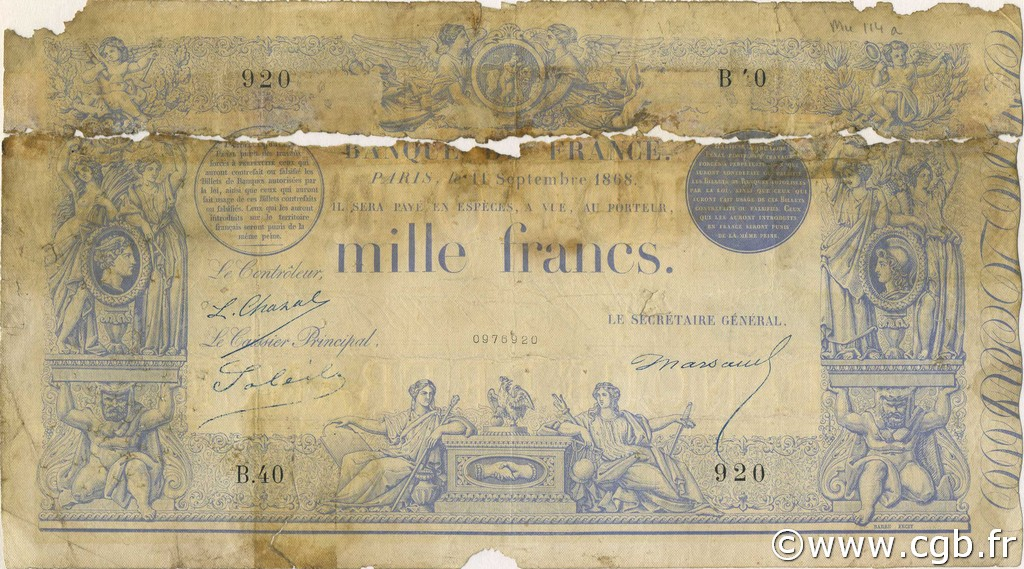 1000 Francs type 1862 indices noirs FRANCE  1868 F.A41.02 AB