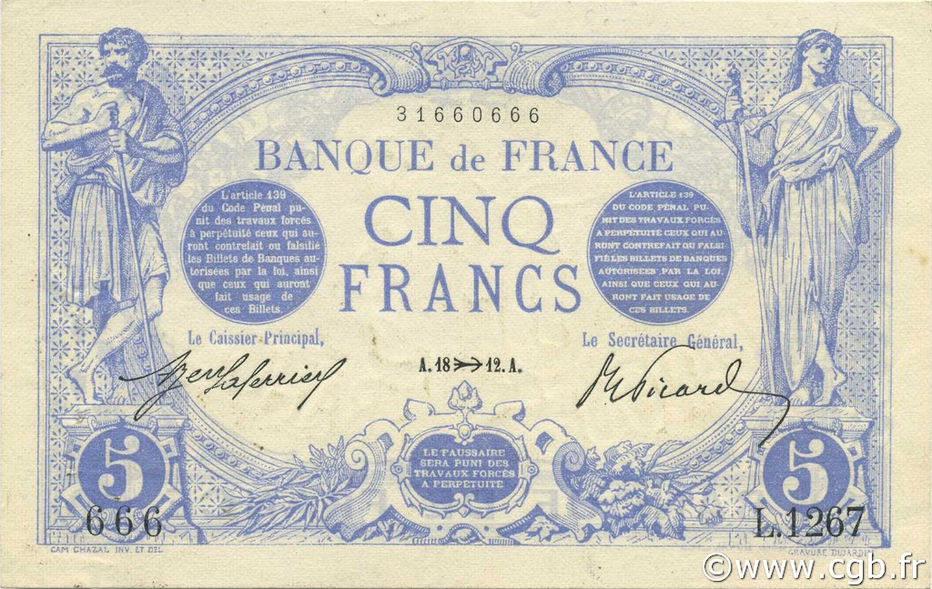 5 Francs BLEU FRANCE  1912 F.02.11 SUP+