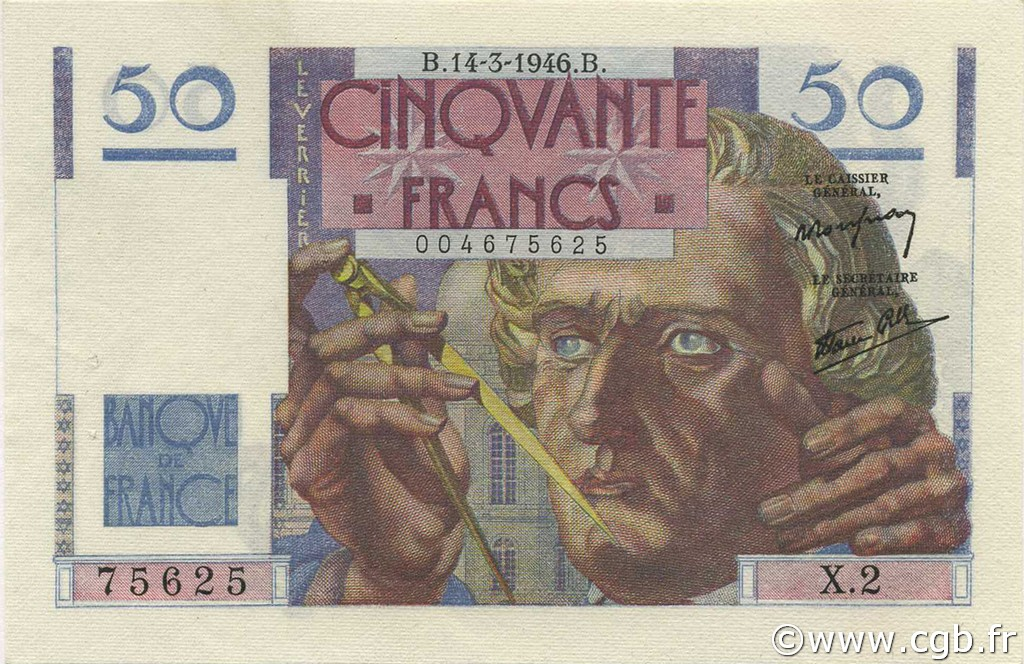 50 Francs LEVERRIER FRANCE  1946 F.20.01 SUP à SPL