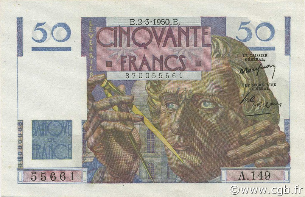 50 Francs LE VERRIER FRANCE  1950 F.20.14 NEUF
