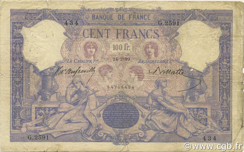 100 Francs BLEU ET ROSE FRANCE  1899 F.21.12 B