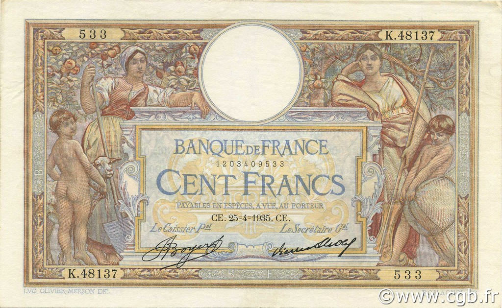 100 Francs LUC OLIVIER MERSON grands cartouches FRANCE  1935 F.24.14 SUP+