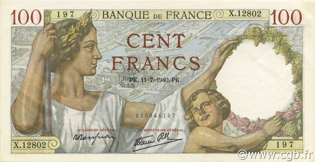 100 Francs SULLY FRANCE  1940 F.26.33 pr.NEUF