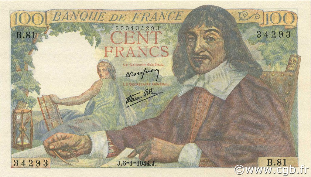 100 Francs DESCARTES FRANCE  1944 F.27.04 NEUF