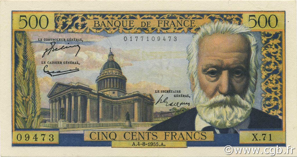 500 Francs VICTOR HUGO FRANCE  1955 F.35.05 SPL+
