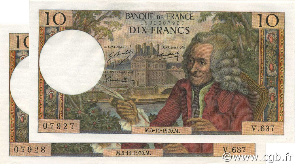 10 Francs VOLTAIRE FRANCE  1970 F.62.47 pr.NEUF