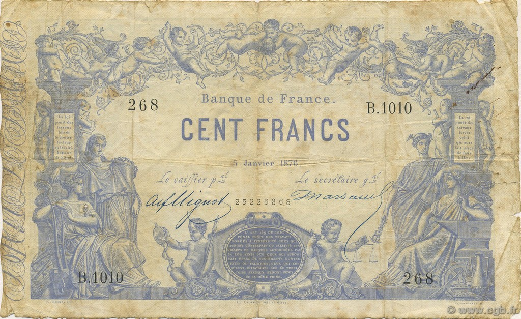100 Francs type 1862 indices noirs FRANCE  1876 F.A39.12 B+