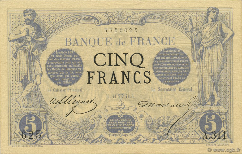 5 Francs NOIR FRANCE  1872 F.01.05 SUP à SPL