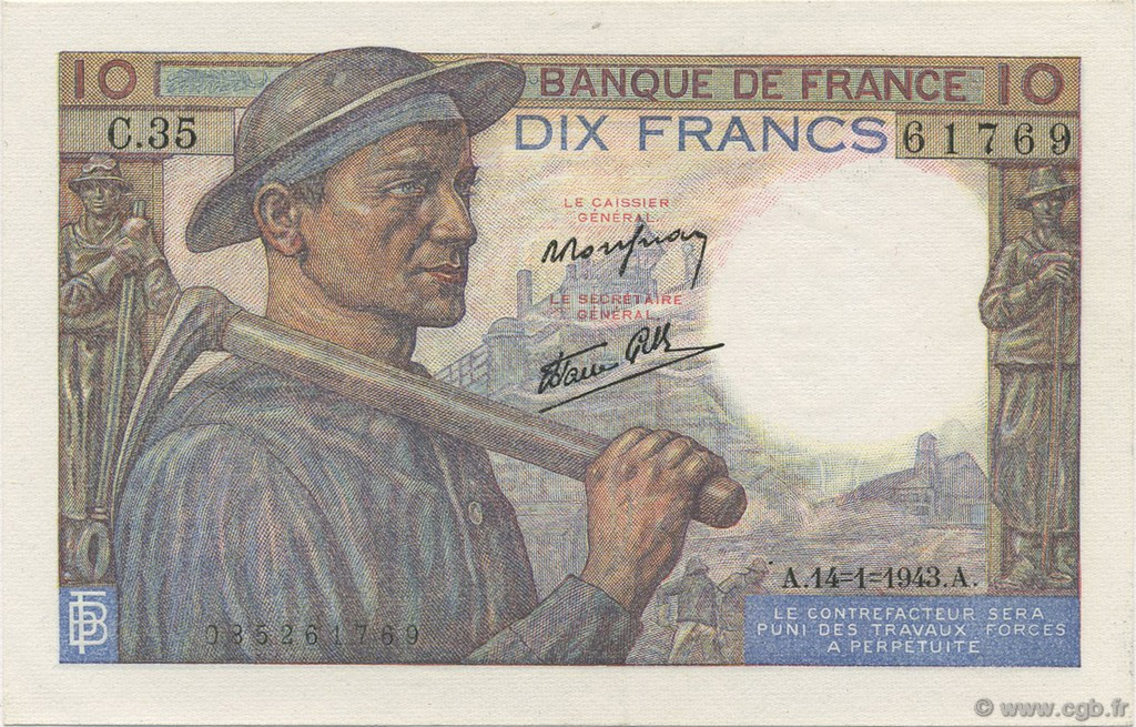 10 Francs MINEUR FRANCE  1943 F.08.07 SPL+