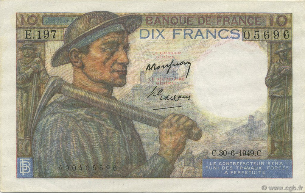 10 Francs MINEUR FRANCE  1949 F.08.22 SPL+