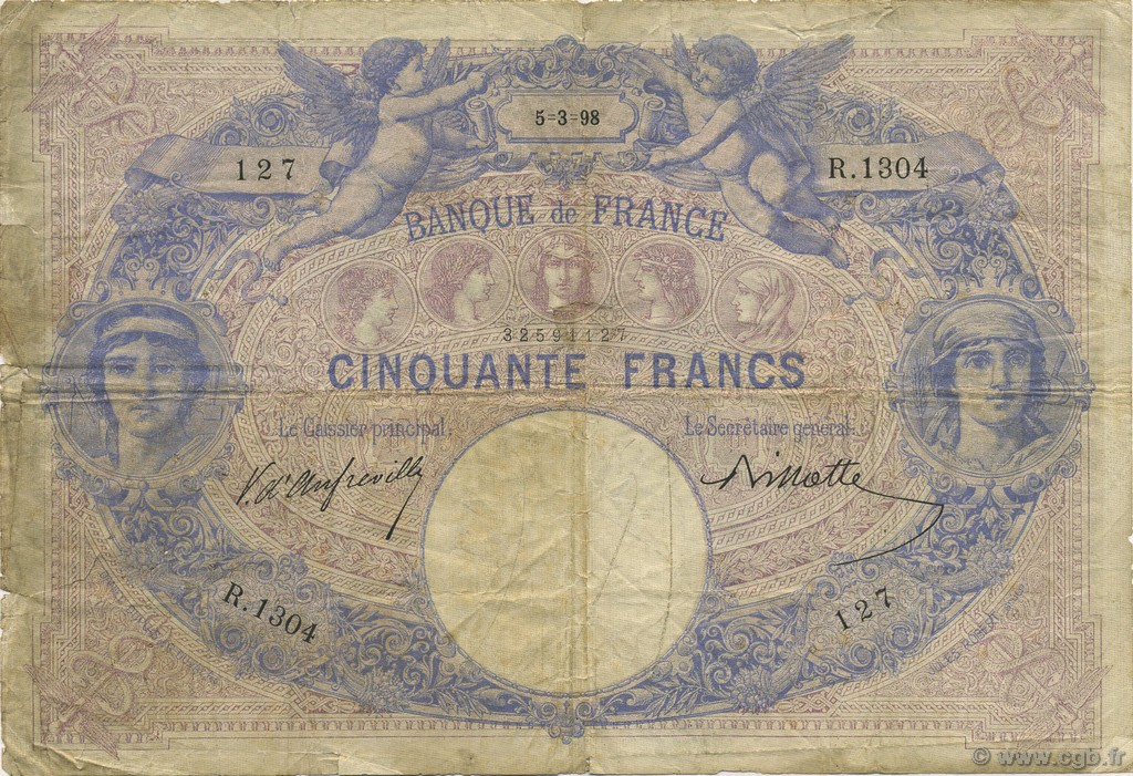 50 Francs BLEU ET ROSE FRANCE  1898 F.14.10 B+