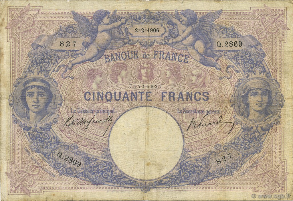 50 Francs BLEU ET ROSE FRANCE  1906 F.14.18 B à TB