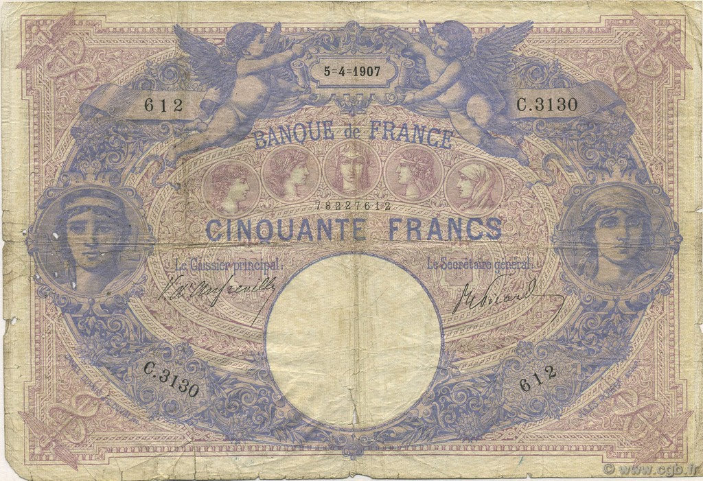 50 Francs BLEU ET ROSE FRANCE  1907 F.14.19 B